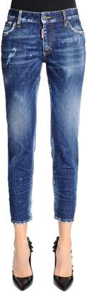 DSQUARED2 Twiggy Cropped Fit Washed Denim Jeans