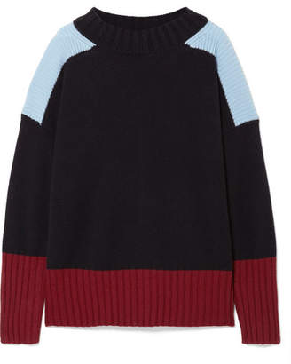 Chinti and Parker Comfort Oversized Color-block Cashmere Sweater - Midnight blue