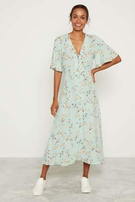 F&F Womens Mint Daisy Print Midi Shirt Dress - Green