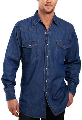 JCPenney Ely Cattleman Denim Washed Snap Shirt-Big & Tall