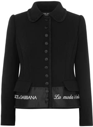 Dolce & Gabbana Embroidered Satin-trimmed Wool-blend Crepe Jacket - Black