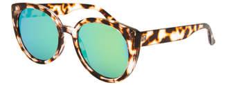 Mirrored Milky Tortoise Cat Eye Sunglasses