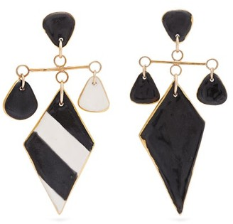 Sonia Boyajian - Tanning Striped Ceramic Earrings - Womens - Black