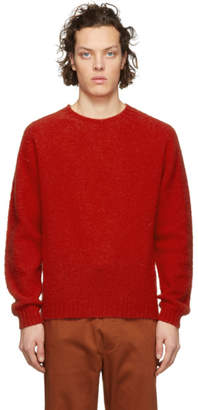 Norse Projects Red Brushed Lambswool Birnir Crewneck Sweater