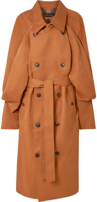 Y/Project Oversized Layered Gabardine Trench Coat - Camel