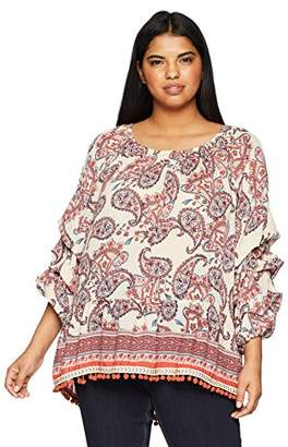 acd9b503b7c7b6 Democracy Women s Plus Size Triple Tuck SLV TOP