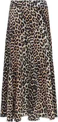 Ganni Leopard Midi Skirt