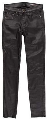 Rag & Bone Leather Mid-Rise Skinny Jeans