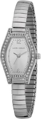 Laura Ashley Womens Silver Expandable Bracelet Watch La31010Ss $345 thestylecure.com