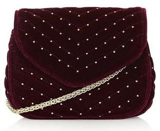 Topshop Embellished Velvet Crossbody Bag - Burgundy $50 thestylecure.com