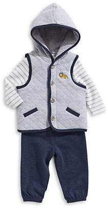 Little Me Baby Boys Three-Piece Bodysuit, Pants and Quilted Vest Set