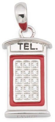 Sterling Silver Pave Cz And Enamel Phone Booth Charm