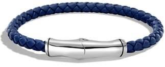 John Hardy Silver Bamboo Leather Bracelet