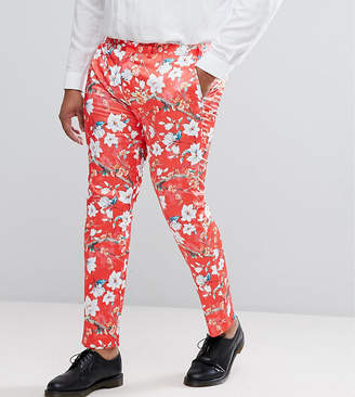 Asos Design PLUS Super Skinny Suit Pants With Red Peacock Print