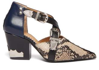 Toga Western Python Effect Leather Ankle Boots - Womens - Navy Multi