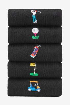Next Mens Black Golf Embroidered Socks Five Pack - Black