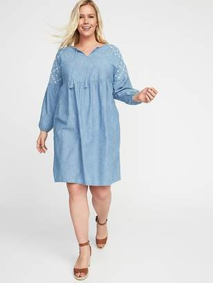 Old Navy Embroidered Plus-Size Tassel-Tie Chambray Shift Dress