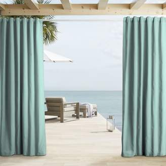 west elm Outdoor Solid Curtain - Aqua