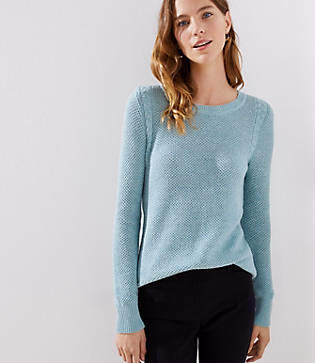 LOFT Petite Cable Knit Trim Stitchy Sweater