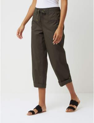 George Khaki Poplin Cropped Trousers