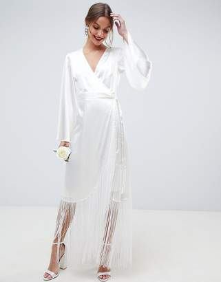 Asos Edition EDITION satin fringe wrap wedding dress