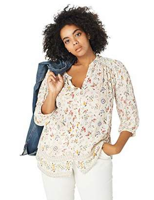 Lucky Brand Women's Plus Size Printed Peasant TOP
