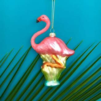The Christmas Home Retro Glass Flamingo Christmas Decoration