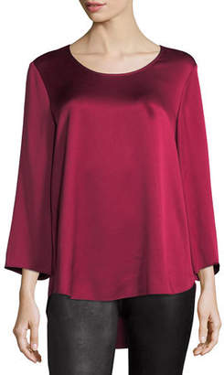 Eileen Fisher 3/4-Sleeve Silk Satin Blouse