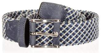 Black Blue and Grey Italian Nubuck Trimmed Woven Belt