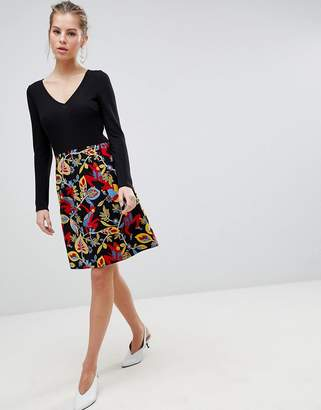 Traffic People Long Sleeve 2-in-1 Skater Dress With Floral Skirt