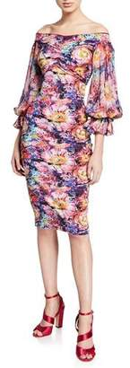 Chiara Boni Maber Abstract Floral-Print Off-the-Shoulder Blouson-Sleeve Dress