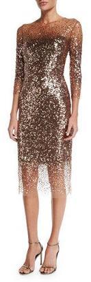 Monique Lhuillier Sequined Ombre Illusion 3/4-Sleeve Dress, Bronze $3,995 thestylecure.com