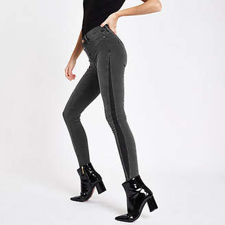 River Island Womens Black Molly shadow panel mid rise jeggings