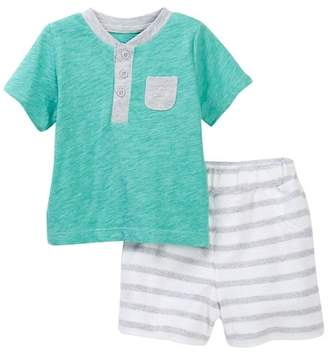 Offspring Henley Tee & Striped Shorts Set (Baby Boys)