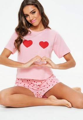 Missguided Pink Heart Pyjama Set