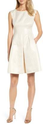 Anne Klein Champagne Dot Fit & Flare Dress