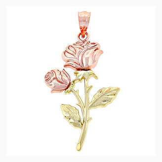 FINE JEWELRY 14K Two-Tone Gold Double Roses Charm Pendant