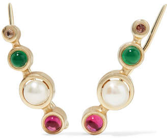 Elizabeth and James Zoe Gold-plated Multi-stone Earrings