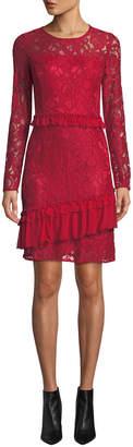Neiman Marcus Chiffon Ruffle Lace Sheath Dress