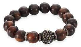 Bavna Pave Diamond Wood Bead Bracelet