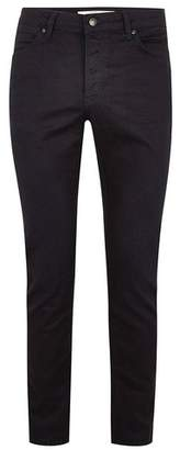 Topman Mens Dark Blue Coated Stretch Slim Jeans