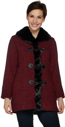 Dennis Basso Toggle Front Tweed Coat with Faux Fur Trim