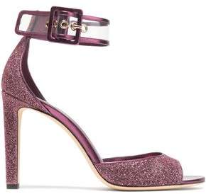 Jimmy Choo Pvc-Trimmed Glittered Leather Sandals