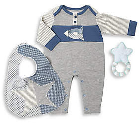 Oliver& Adelaide Oliver& Adelaide Baby Boy's 3-Piece Coverall, Astro Bib& Crochet Star Teether Cotton Gift Set