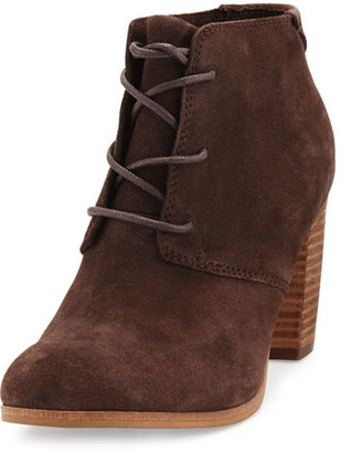 TOMS Lunata Suede Lace-Up Ankle Boot, Chocolate $119 thestylecure.com