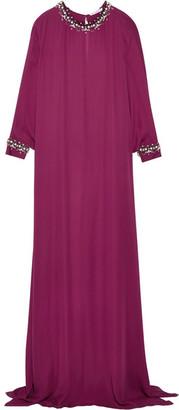 Oscar de la Renta - Crystal-embellished Silk Crepe Gown - Burgundy $3,990 thestylecure.com