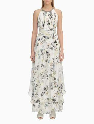 Calvin Klein Floral Chiffon Beaded Gown