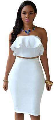 Kain Label Kalin L Women's Crop Top Maxi Skirt Set 2 Piece Outfit Bandage Nightclub Dress (XL, )