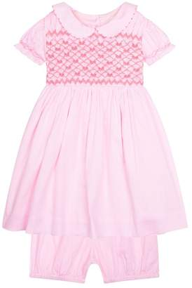 Rachel Riley Bow Smock Dress with Bloomers