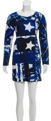 Just Cavalli Long Sleeve Star Print Dress